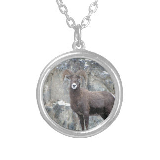 Bighorn Sheep Round Pendant Necklace