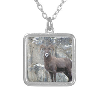 Bighorn Sheep Square Pendant Necklace