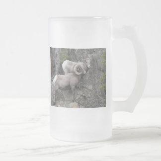 Bighorn Sheeps Frosted Glass Beer Mug