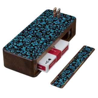 Bight Blue Glittery Floral on Black Cribbage Board