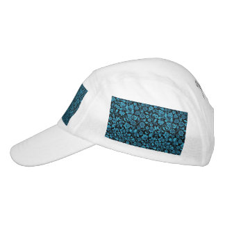 Bight Blue Glittery Floral on Black Headsweats Hat