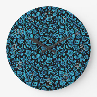 Bight Blue Glittery Floral on Black Large Clock