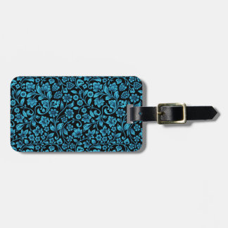 Bight Blue Glittery Floral on Black Luggage Tag