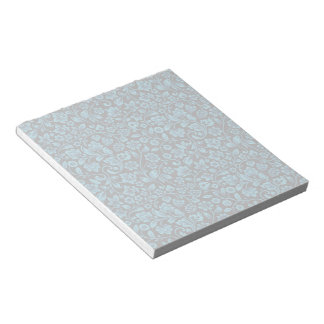 Bight Blue Glittery Floral on Black Notepad