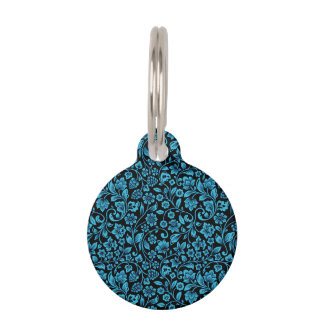 Bight Blue Glittery Floral on Black Pet Tag