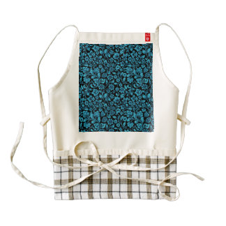 Bight Blue Glittery Floral on Black Zazzle HEART Apron