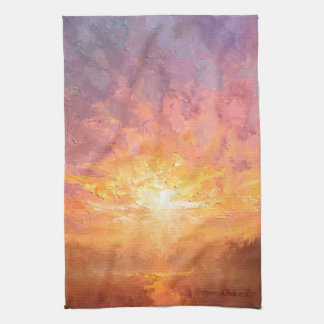Bight, Bold, and Colorful Clouds Sunrise Painting Kitchen Towel