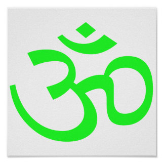 Bight Green Om or Aum ॐ.png Poster