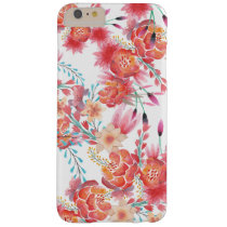 Bight pink coral watercolor trendy floral pattern barely there iPhone 6 plus case