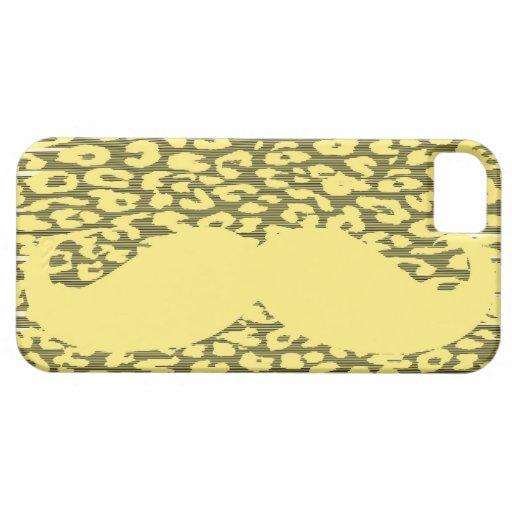 Bigote amarillo divertido en piel del leopardo funda para iPhone SE/5/5s