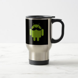 Bigote androide del icono del robot en negro taza de viaje de acero inoxidable