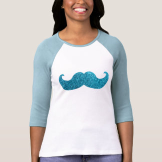Bigote azul de Bling (falso gráfico del brillo) Camisetas