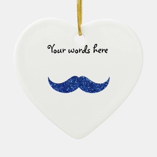 bigote azul del brillo adorno de cerámica en forma de corazón
