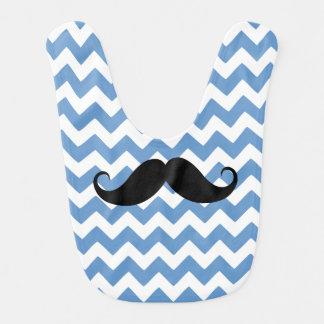 Bigote azul del zigzag de Chevron Babero Para Bebé