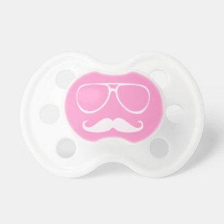 Bigote (bigote) y vidrios simulados en rosa chupete de bebe