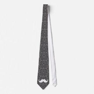 Bigote blanco del manillar en modelo gris del dama corbata personalizada