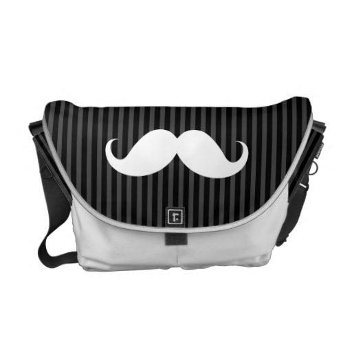 Bigote blanco del manillar en rayas negras grises bolsa de mensajería