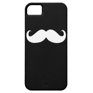 Bigote blanco divertido en fondo negro iPhone 5 carcasas