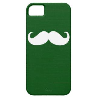 Bigote blanco divertido en fondo verde funda para iPhone SE/5/5s