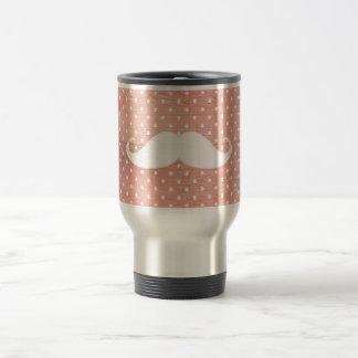 Bigote blanco divertido en modelo de lunares rosad taza de café