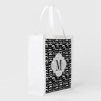 Bigote blanco y negro del jet bolsa de la compra