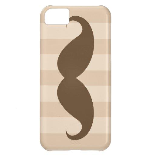 Bigote de Brown y caso del iPhone 5 de las rayas Funda Para iPhone 5C