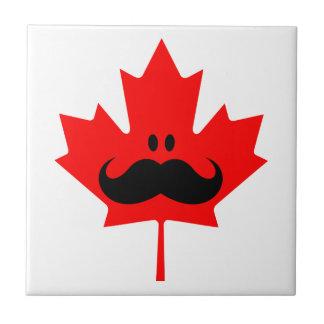 Bigote de Canadá - un bigote en arce rojo Azulejo Cuadrado Pequeño