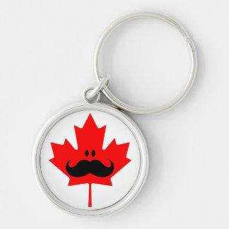 Bigote de Canadá - un bigote en arce rojo Llavero Redondo Plateado
