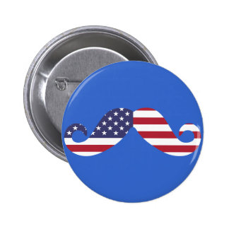 Bigote de la bandera americana pin redondo 5 cm