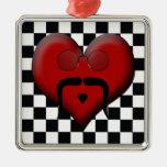 Bigote de moda del corazón en fondo a cuadros ornamento para reyes magos