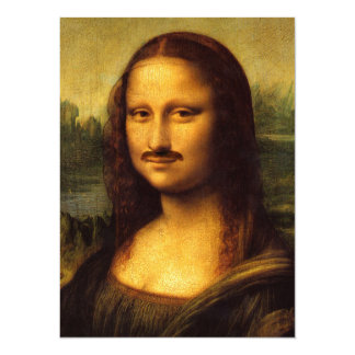 "bigote de Mona Lisa Invitación 5.5"" X 7.5"""