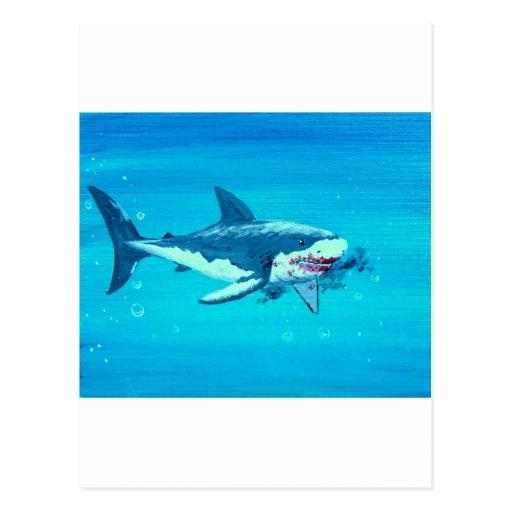 Bigote del almuerzo del tiburón tarjetas postales