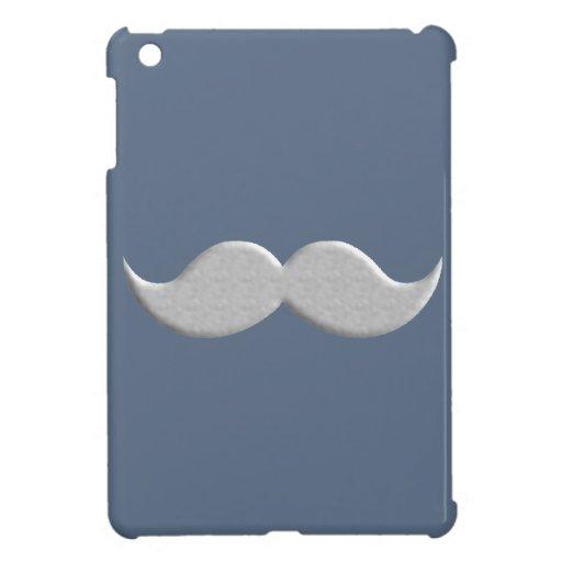 Bigote del bigote del manillar en fondo azul iPad mini fundas