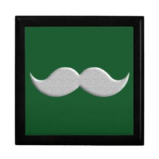Bigote del bigote del manillar en fondo verde caja de recuerdo
