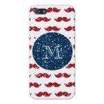 Bigote del brillo del rojo de azules marinos, su iPhone 5 carcasa