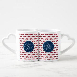 Bigote del brillo del rojo de azules marinos, su set de tazas de café