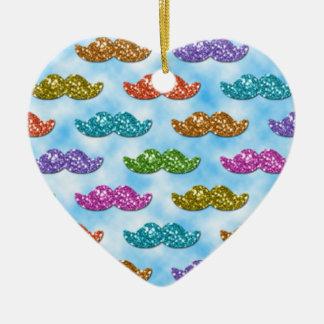 Bigote del brillo que flota en el cielo adorno navideño de cerámica en forma de corazón
