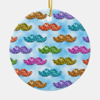 Bigote del brillo que flota en el cielo adorno navideño redondo de cerámica