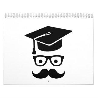 Bigote del gorra de la graduación del estudiante calendario de pared