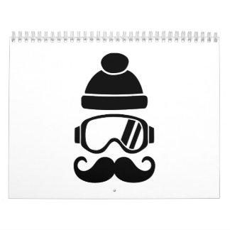 Bigote del gorra de la snowboard del esquí calendario de pared