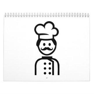 Bigote del gorra del cocinero del cocinero calendarios de pared