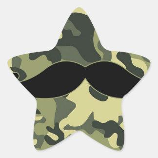 bigote del inconformista con el fondo del pegatina en forma de estrella
