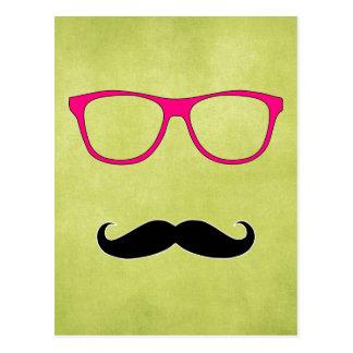 Bigote del inconformista con los vidrios rosados f tarjeta postal