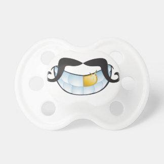 Bigote del manillar y diente brillante del oro chupete de bebe