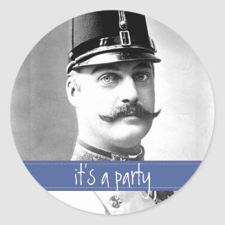 Bigote del vintage/fiesta de encargo del bigote pegatina redonda