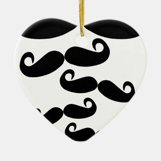 bigote del vuelo adorno navideño de cerámica en forma de corazón