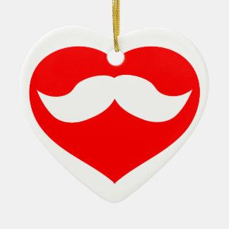 Bigote dentro del corazón rojo adorno de navidad