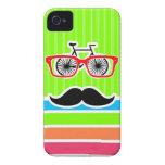 Bigote divertido; Arco iris de neón retro iPhone 4 Case-Mate Funda