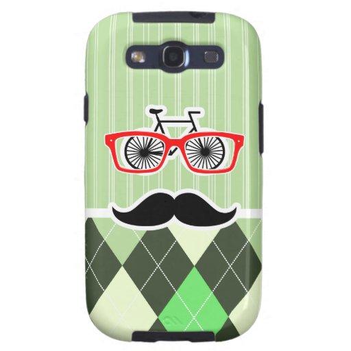 Bigote divertido; Argyle verde Galaxy S3 Cobertura