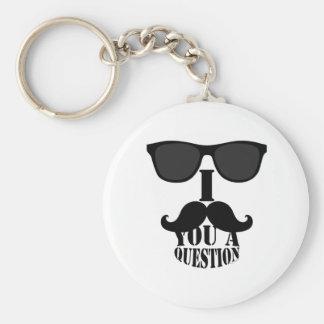 Bigote divertido de I usted una pregunta con las g Llavero Redondo Tipo Pin